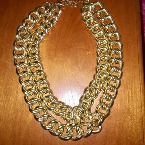 Gold double strand statement necklace